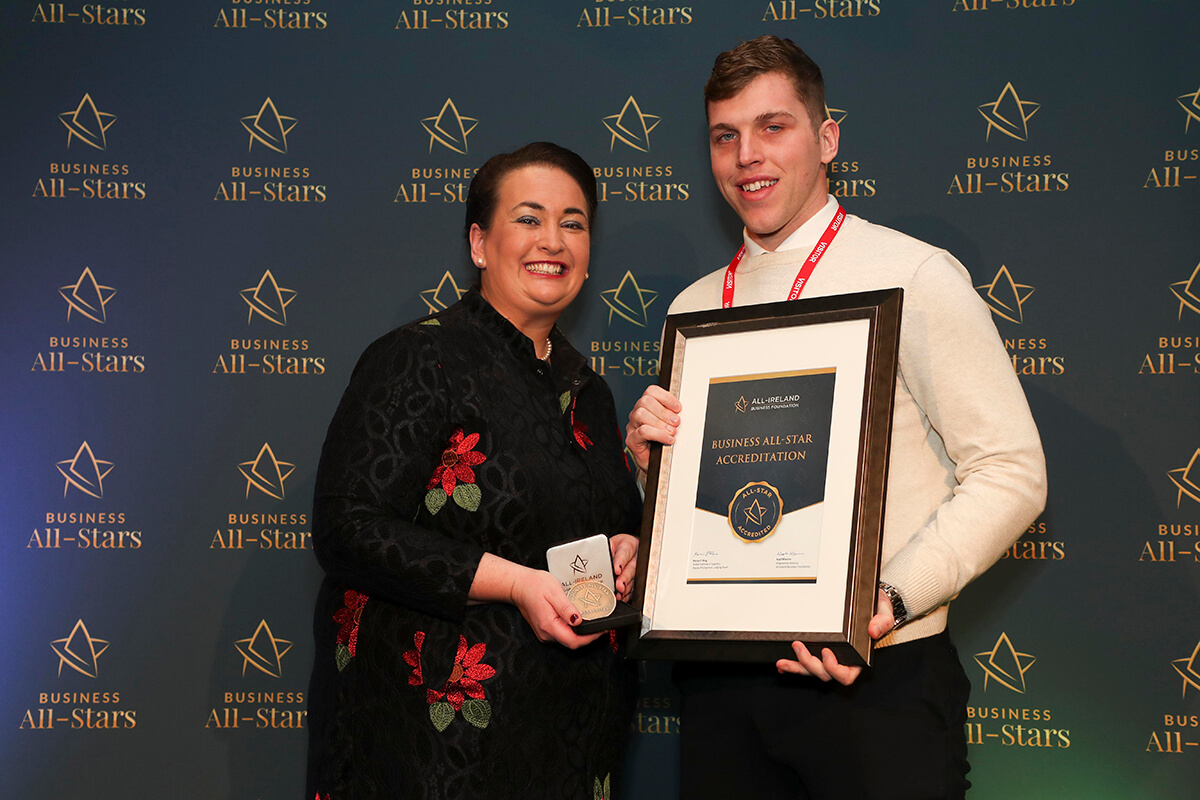 CAPTION: David Kieran - Marketing For Me, receiving Business All-Star Accreditation from Elaine Carroll, CEO, All-Ireland Business Foundation at Croke Park.