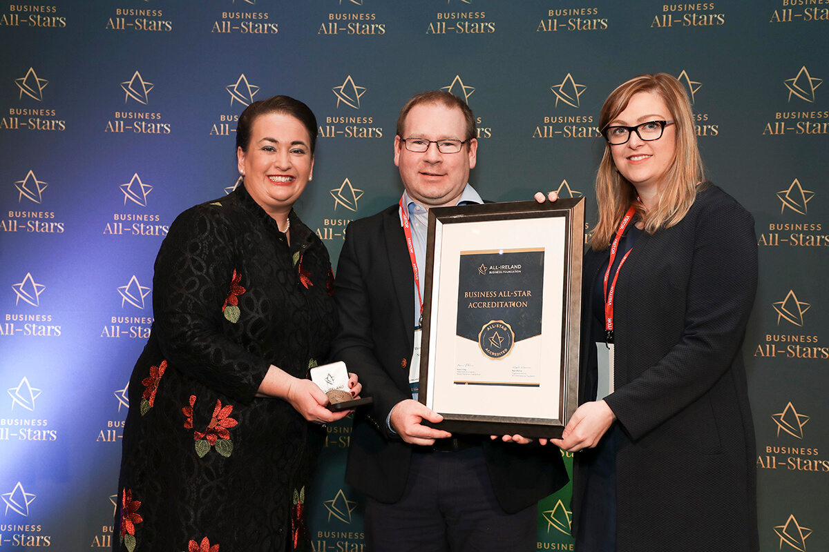 CAPTION: Dave Devery - Netsupport, receiving Business All-Star Accreditation from Elaine Carroll, CEO, All-Ireland Business Foundation at Croke Park.