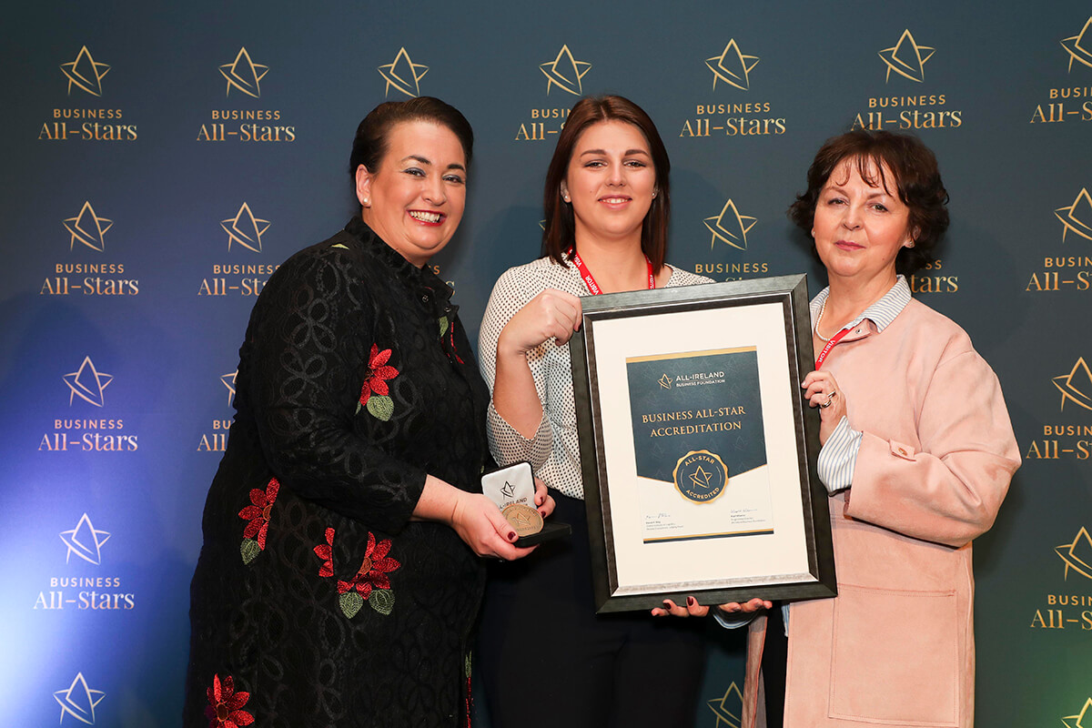 CAPTION: Helen Rowland & Lisa - OceanConnects, receiving Business All-Star Accreditation from Elaine Carroll, CEO, All-Ireland Business Foundation at Croke Park.