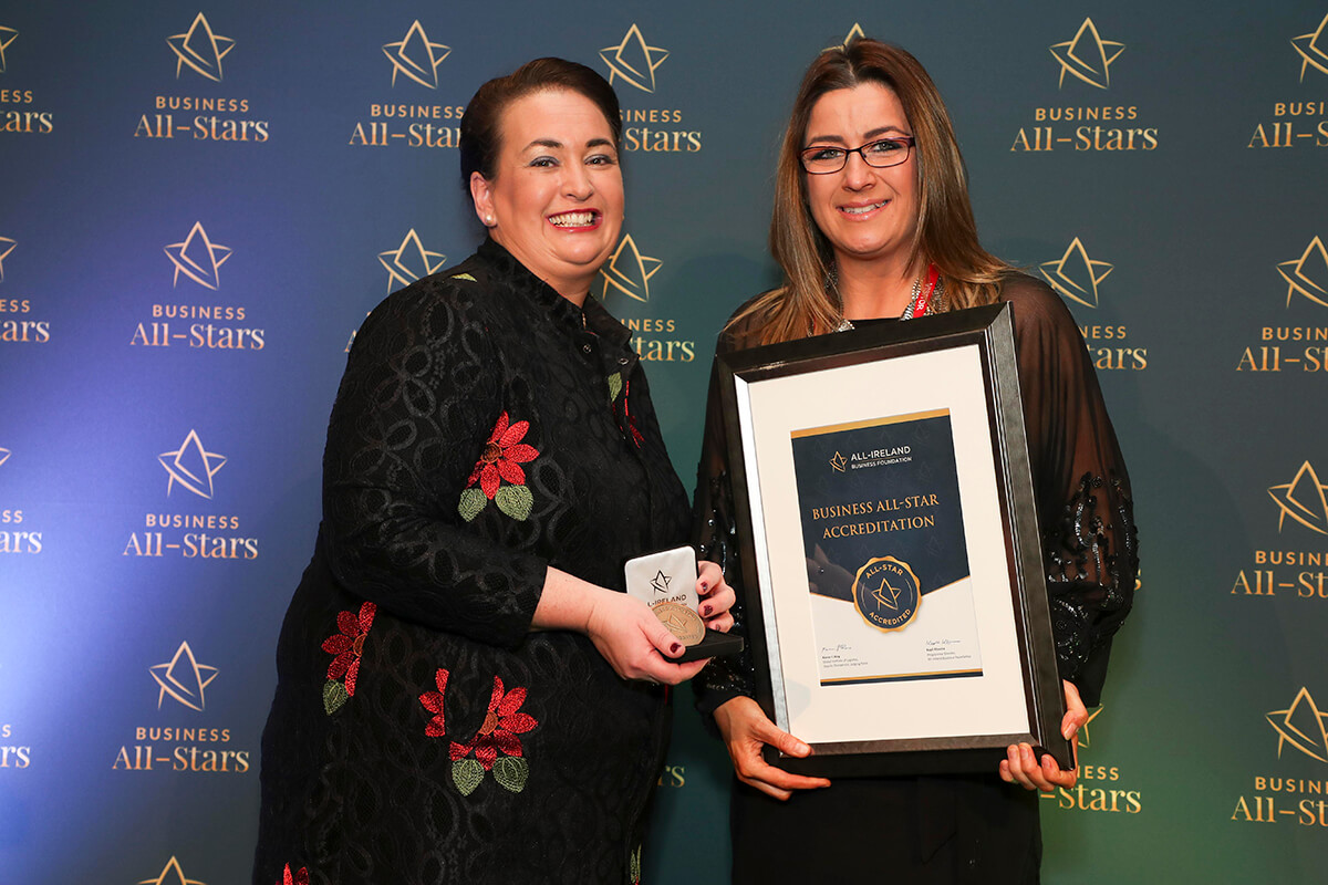 CAPTION: Kim Somers - Ultra Flex School of Dance, receiving Business All-Star Accreditation from Elaine Carroll, CEO, All-Ireland Business Foundation at Croke Park.