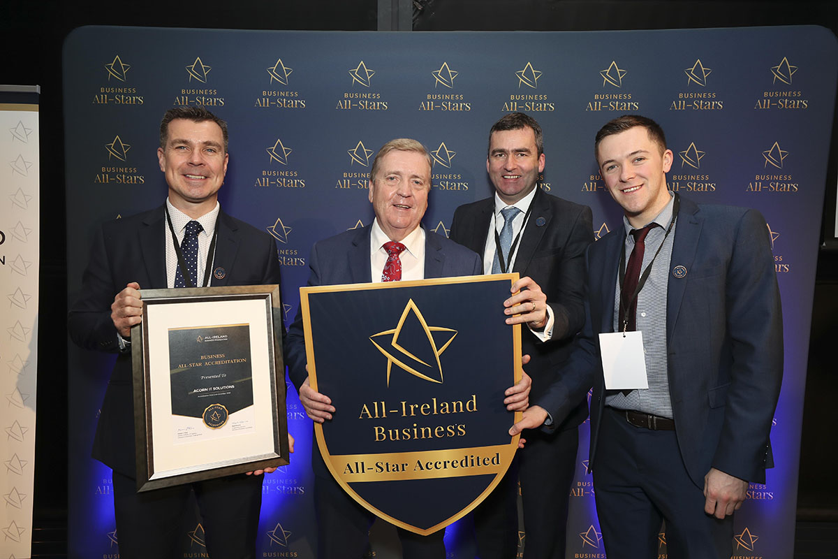 CAPTION: Dominic McMullan, Roger Gribben & Niall Delargy, Acorn IT Solutions receiving an All-Ireland Business Foundation All-Star Accreditation at Croke Park, pictured with Minister of State for Trade, Employment and Business, Pat Breen.