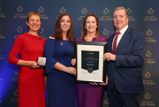 CAPTION: Eileen Fleming & Sinead Sisson, The Buff Day Spa receiving an All-Ireland Business Foundation All-Star Accreditation at Croke Park from Dr Briga Hynes of the Kemmy Business School at the University of Limerick and Minister of State for Trade, Employment and Business, Pat Breen.
