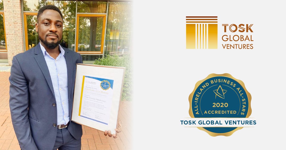 Temitope Okunjolu CEO,Tosk Global Ventures with his All-Star accreditation certificate.
