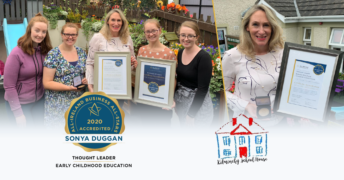 Kilminchy School House team photographed with their All-Star Accreditation certificate and medallion.
