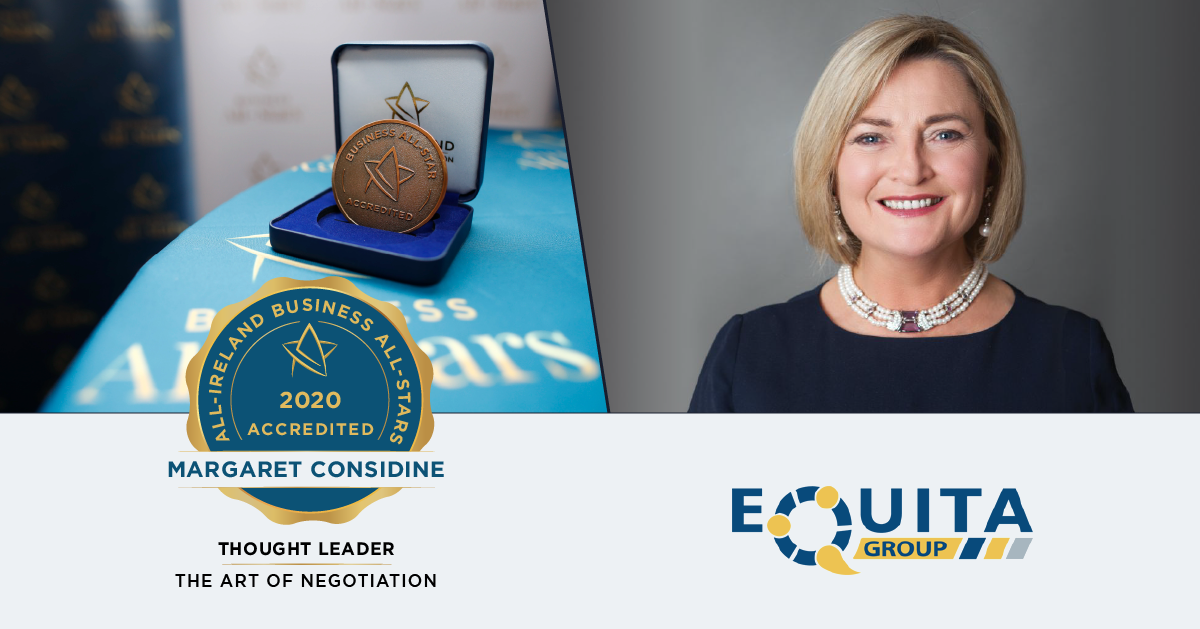 Margaret Considine, CEO of EQuita Consulting achieves Thought Leader in the Art of Negotiation.