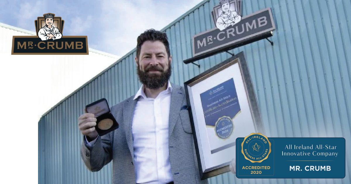 Bernard Coyle, Founder of Mr Crumb with his All-Star Accreditation certificate and medallion.