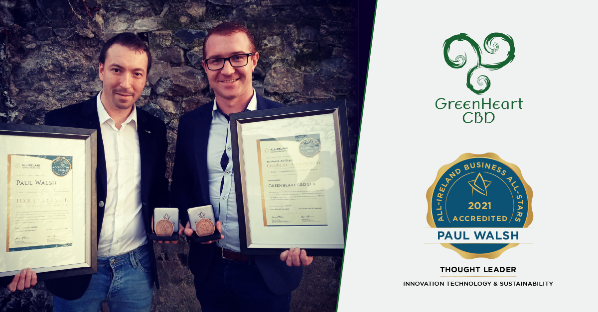 Paul Walsh, CSO and Co-Founder of Greenheart CBD and Mark Canavan, CEO and Co-Founder of Greeheart CBD photographed with their All-Star accreditation certificates and medallions.
