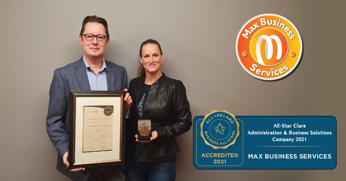 Left to right - Mario De Dapper, Managing Director of Max Business Services and Patricia De Dapper, Director of Max Business Services with their All-Star accreditation certificate and medallion.