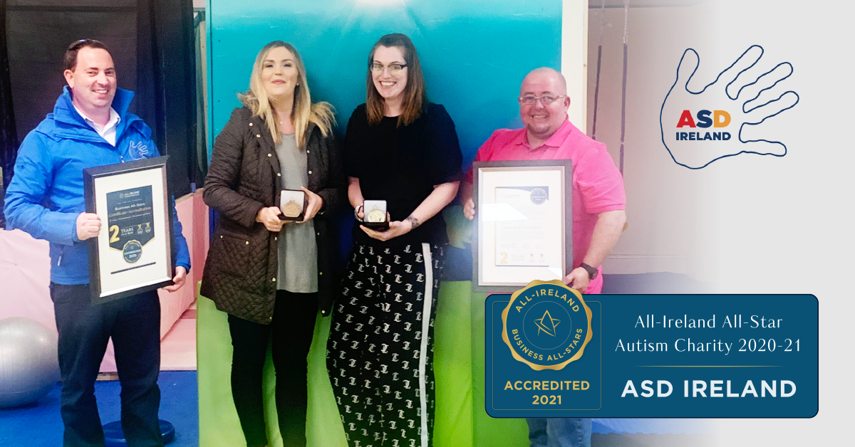Left to Right - Keith Enright, CEO & Founder, Lisa Howard, Director, Caroline Hogan, Director & Founder and Gary Flanagan, Director of ASD Ireland photographed with their All-Star Accreditation certificate.</br></br>