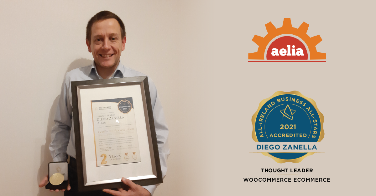Diego Zanella, Founder of Aelia photographed with his All-Star Accreditation certificate and medallion.</br></br></br></br>