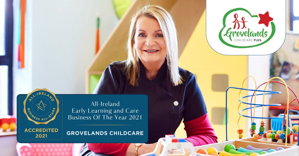 Regina Bushell, Managing Director at Grovelands Childcare achieves All-Ireland Early Learning and Care Business of the Year 2021.