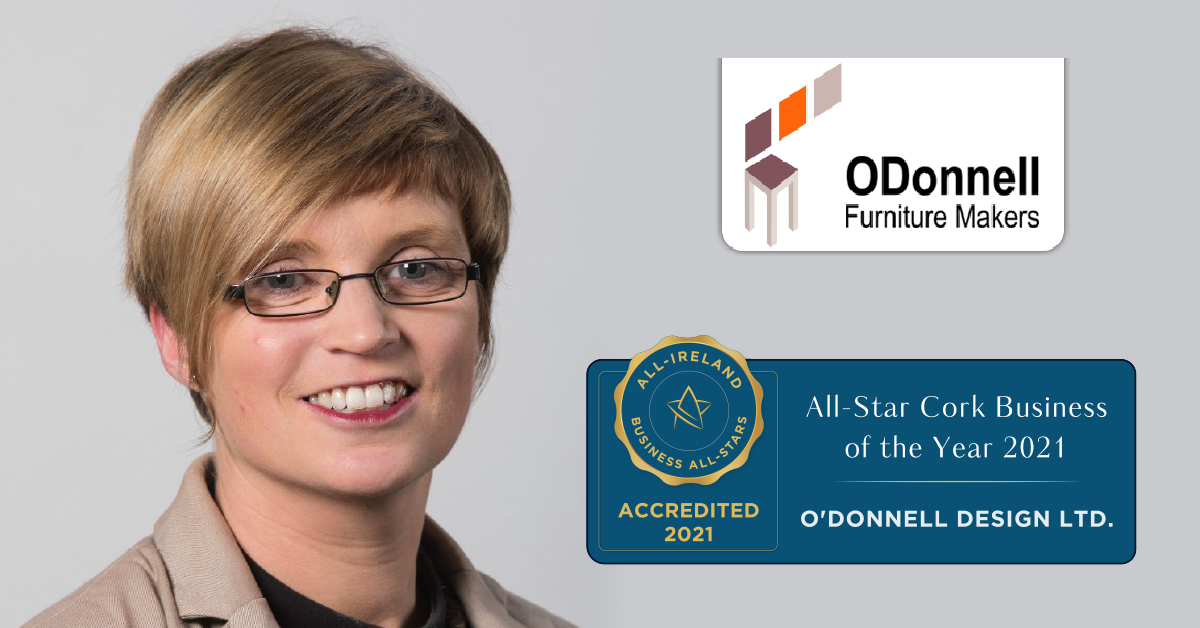 Katherine O'Sullivan, General Manager at O'Donnell Designs achieves All-Star Cork Business of the Year 2021.