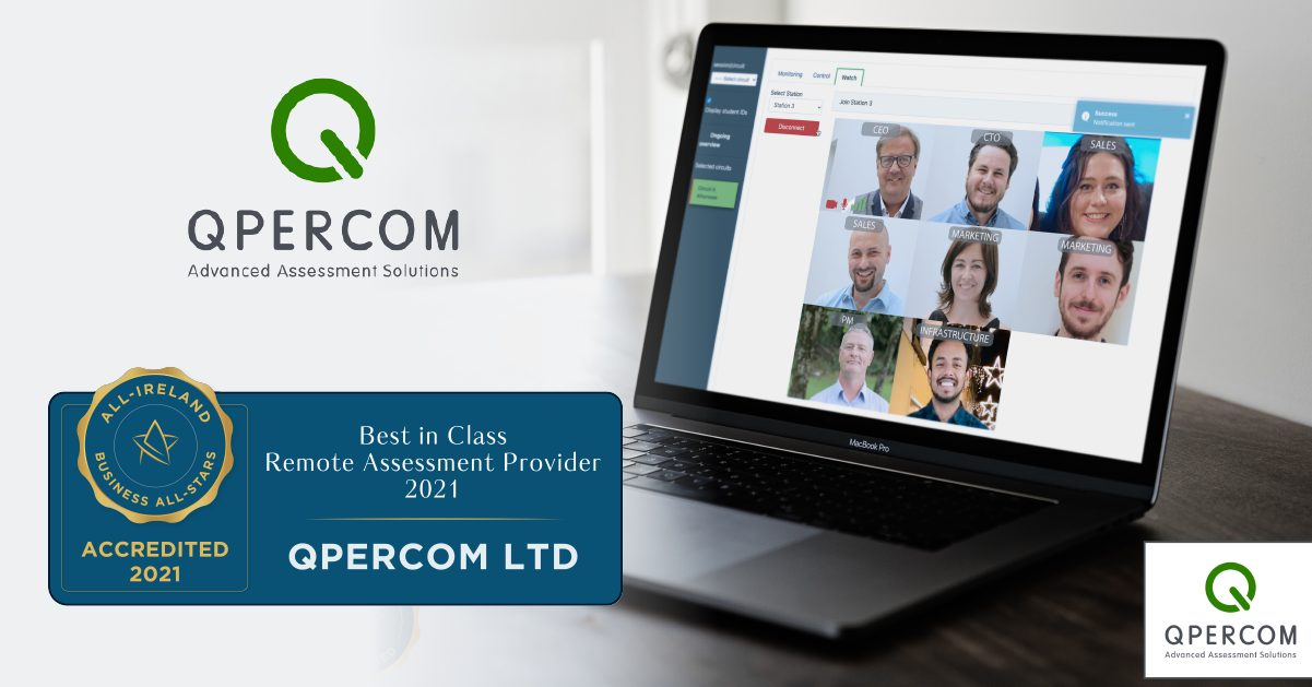 Qpercom's Monitoring, Control and Watch Tab as technological standout, enabling direct video connections into consecutive video interview stations.