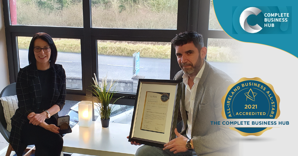 Left to Right - Maura Lernihan, Director and Thomas McLoughlin, Head of Sales and Marketing at The Complete Business Hub with their All-Star Accreditation certificate and medallion.