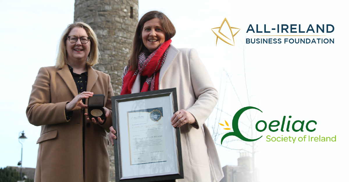 Gill Brennan, CEO and Trish Ledwige, Head of Finance at the Coeliac Society of Ireland photographed at Round Tower, Clondalkin with their All-Star Accreditation certificate.