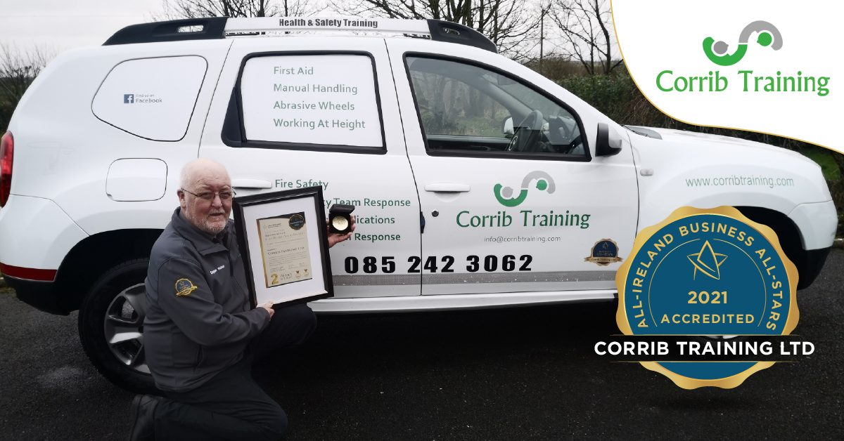 Eugene Nolan, Managing Director of Corrib Training photographed with his All-Star Accreditation certificate and medallion.
