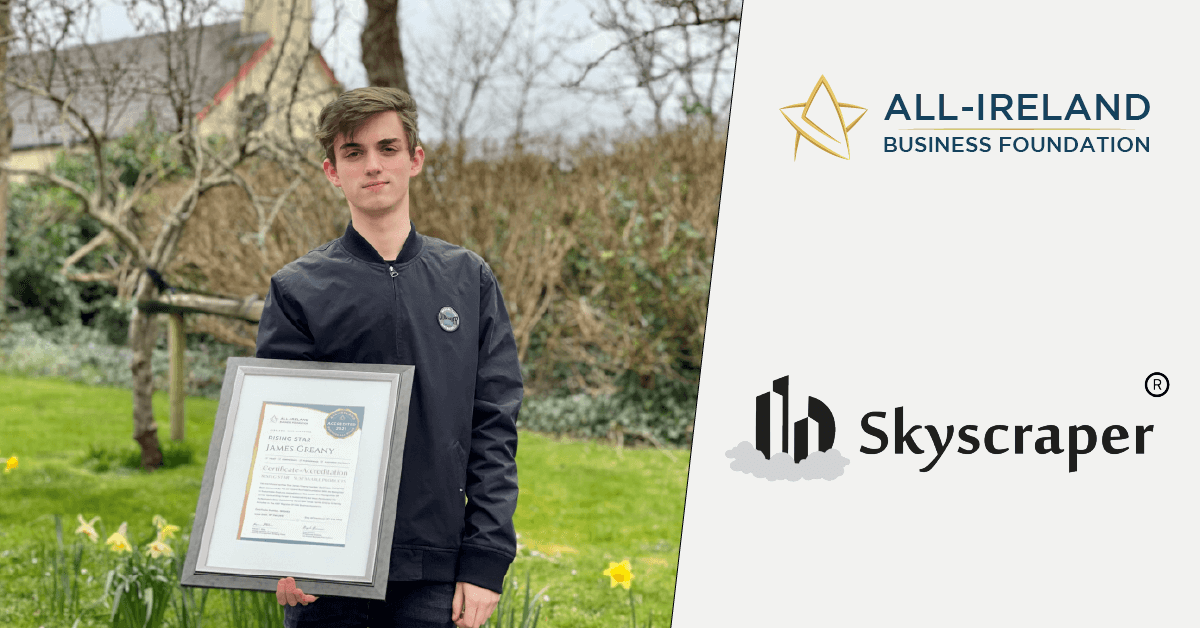 James Greany, Founder of Skyscraper Group photographed with his All-Star Accreditation certificate.