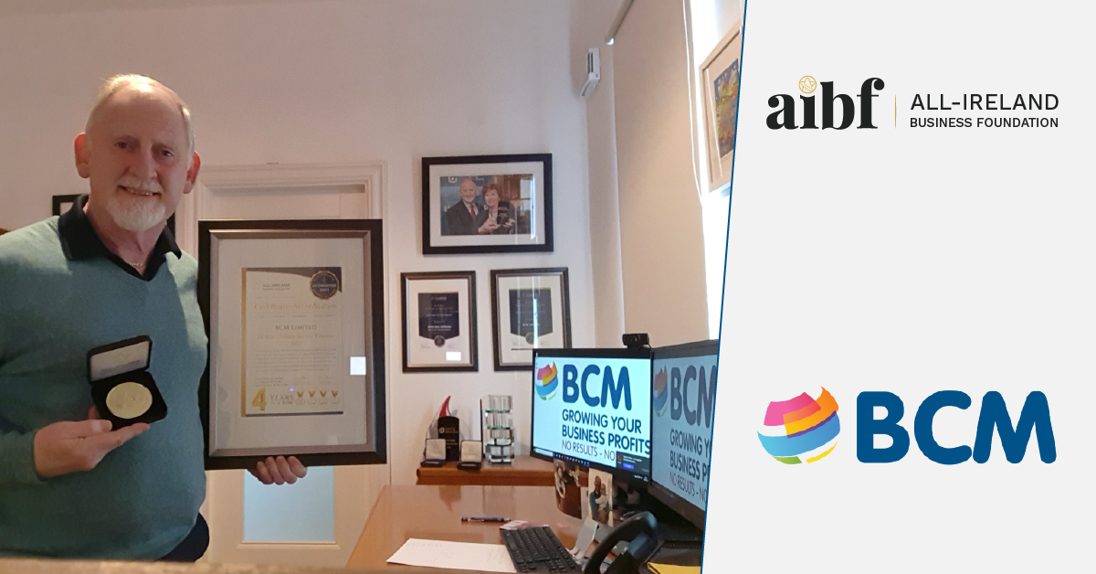 John Mac Namara, CEO of BCM with his All-Star Accreditation certificate.