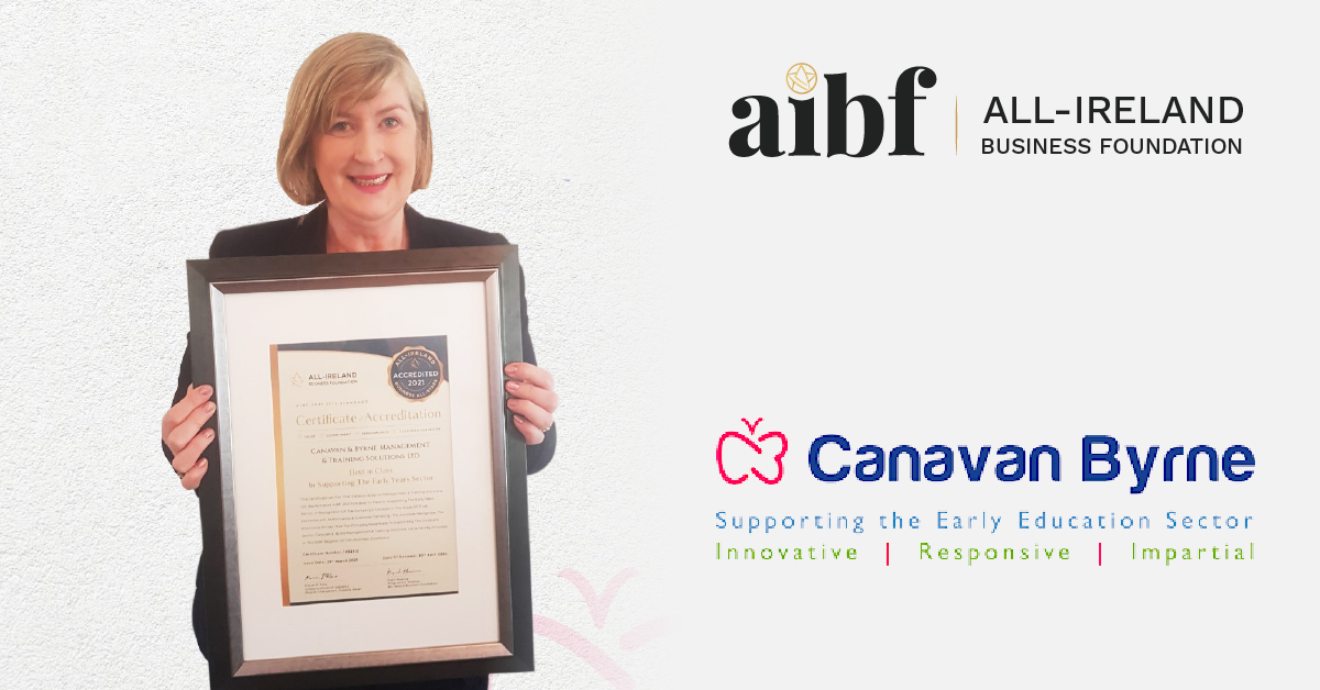 Angela Canavan, MD at Canavan & Byrne Management & Training Solutions Ltd with her All-Star Accreditation certificate.