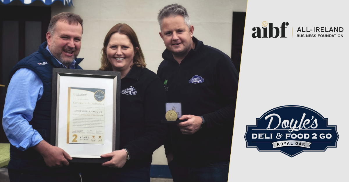 Left to Right: Denis Mullin, Director, Laura Mullin, Director & James Doyle, Manager at Doyle's Deli & Food 2 Go with their All-Star Accreditation certificate and medallion.