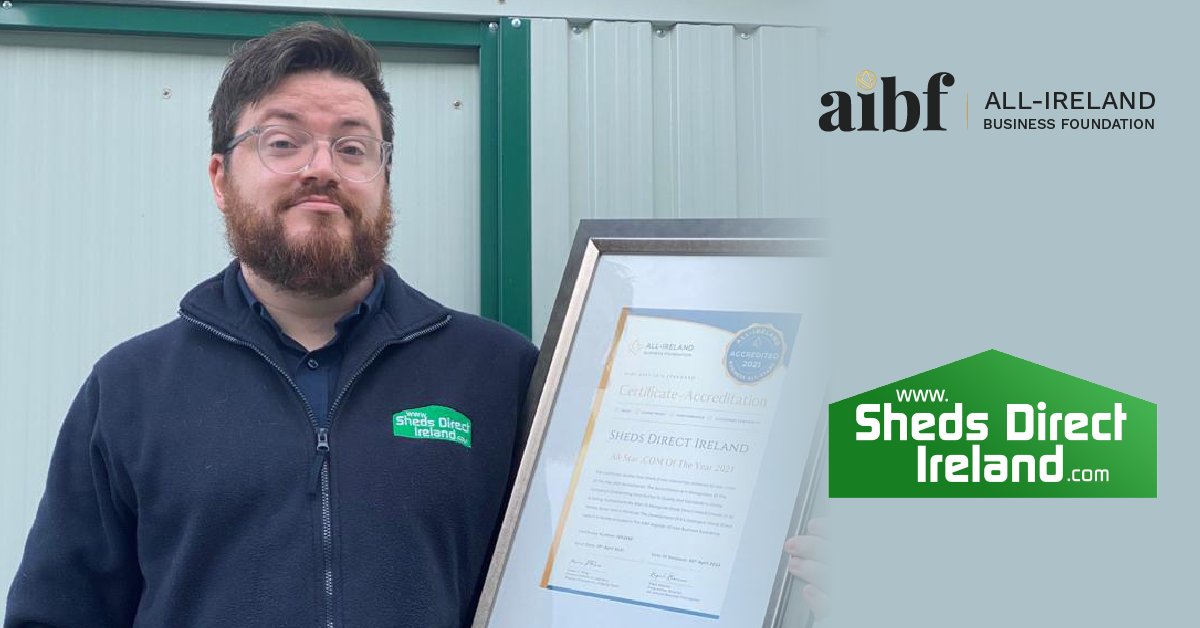 Sean Conroy, Marketing Manager at Sheds Direct Ireland with their All-Star Accreditation certificate and medallion.