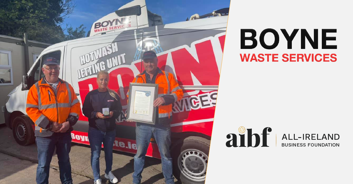 The Boyne Waste Services team photographed with their All-Star Accreditation certificate and medallion.