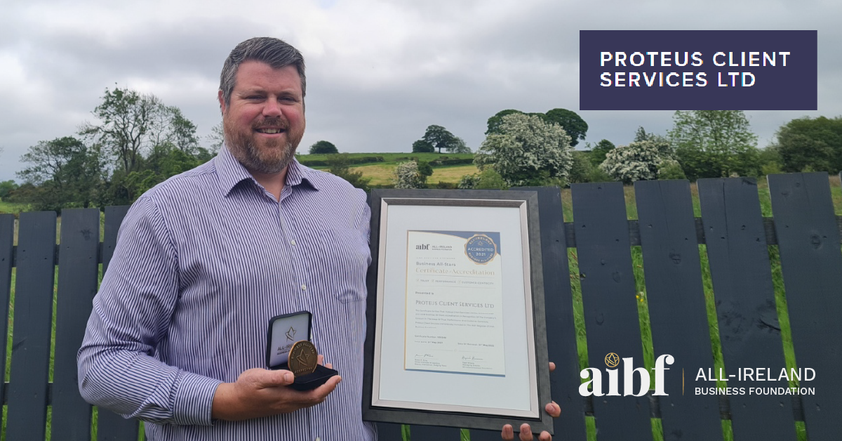 Gareth Anderson, Founder & Director of Proteus Client Services Ltd with his All-Star Accreditation certificate and medallion.