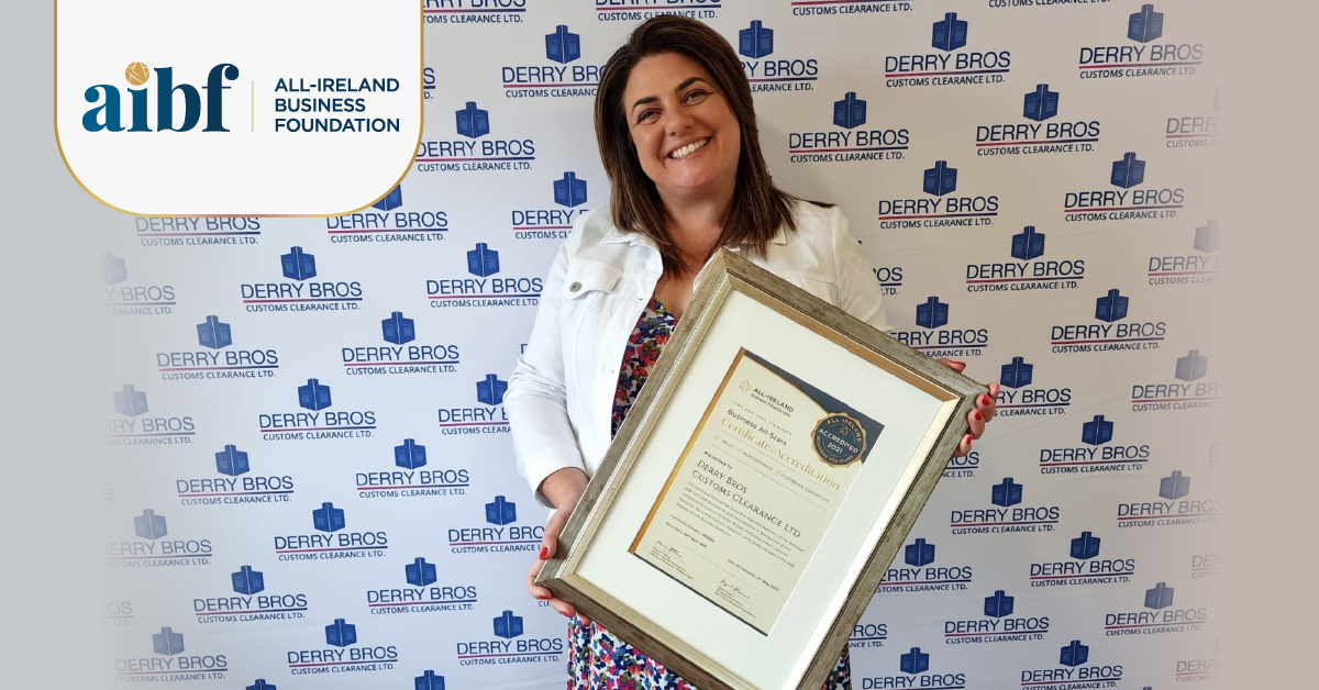 Brigid Derry, Managing Director at Derry Bros with their All-Star Accreditation certificate.