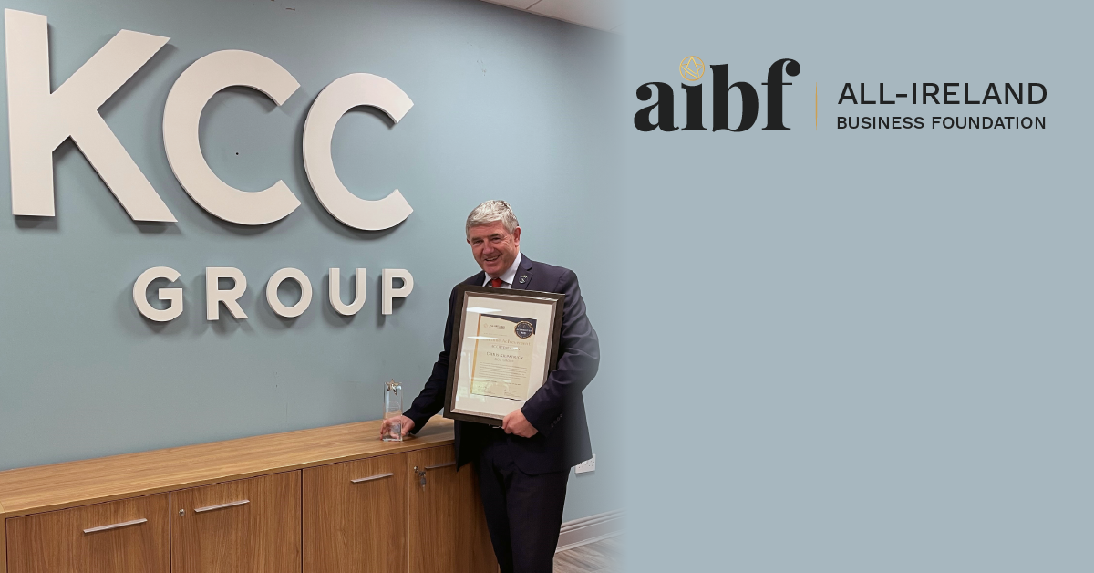 Chris Kilpatrick, Founder of KCC Group photographed with his Lifetime Achievement Accreditation certificate.