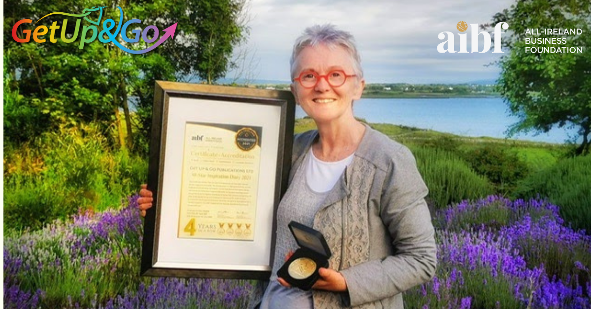 Co-Owner and Director of Get Up & Go Eileen Forrestal With The AIBF Accreditation Certificate.
