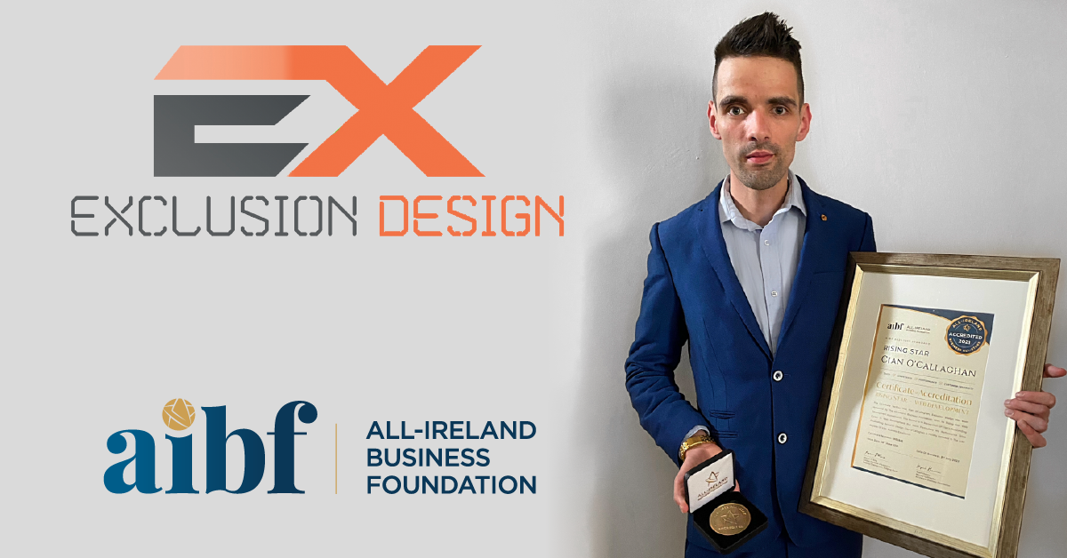 Cian O'Callaghan, Founder of Exclusion Design with his Business All-Star Accreditation Certificate and Medallion.