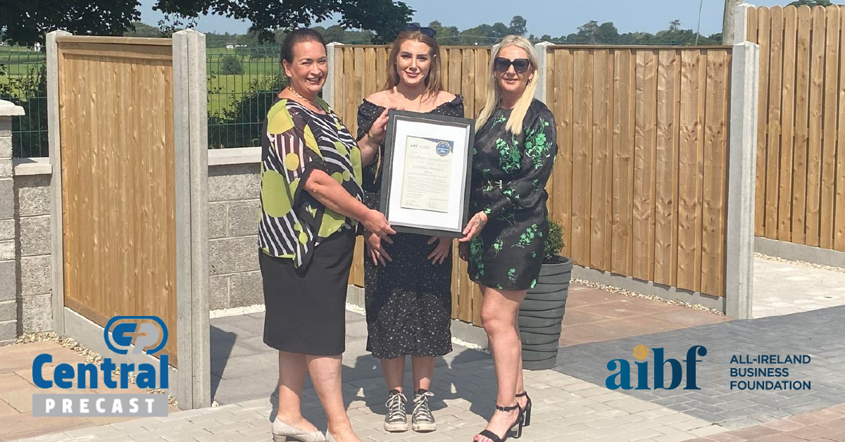 AIBF CEO Elaine Carroll (left) presents Managing Director Cyrena Lewis and Director Lorreta McDonald of Central Precast Concrete with their Accreditation certificate.