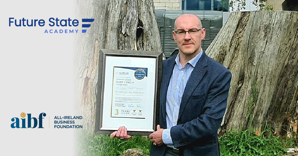 Shay Lynch, Founder of Future State with his All-Star Accreditation Certificate.
