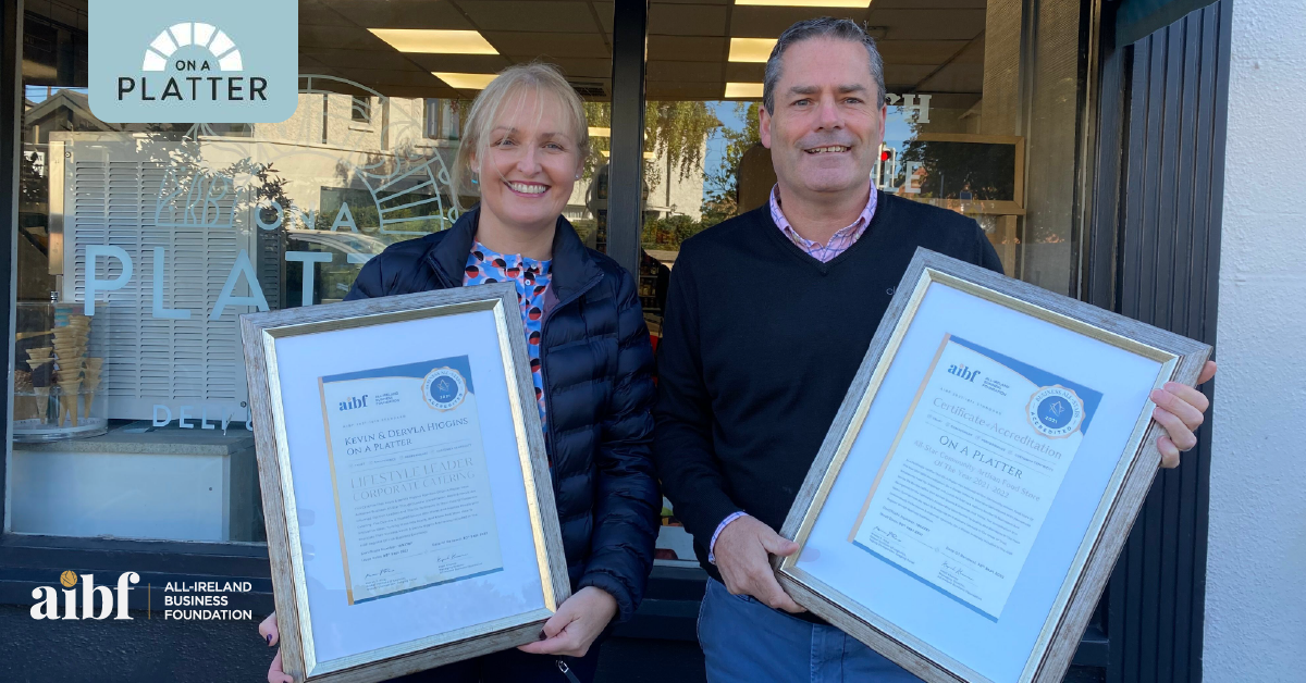 Dervla & Kevin Higgins, Founders at On A Platter with their All-Star Accreditation certificate.